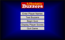 Affordable Buzzers Quiz Game Software Menu Screen